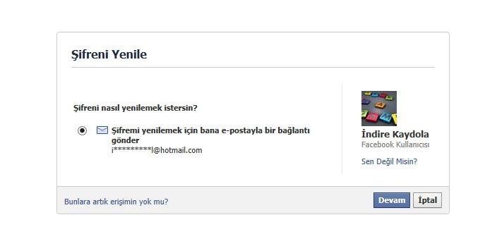 Facebook Şifremi E-posta Olarak Gönder