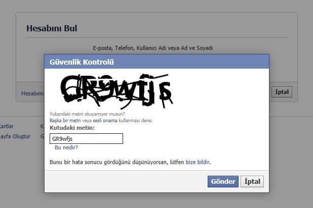 Facebook Şifremi Unuttum Güvenlik Kontrolü