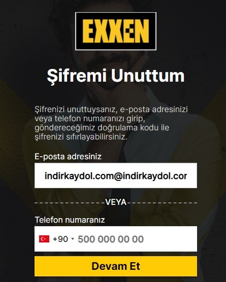 Exxen Şifremi Unuttum