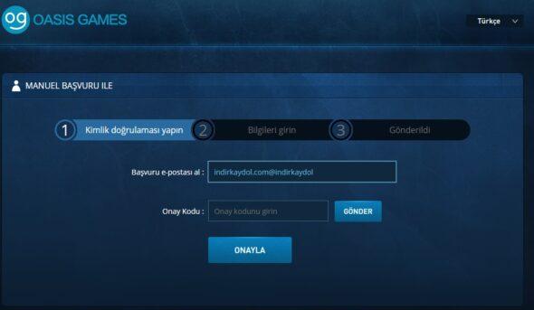 Oasis Games Şifre Sıfırlama